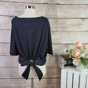NWT GAP Cotton Tie-Back Cropped Black T-Shirt XL